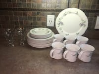 Pfaltzgraff dinner set: plates,cups,4 ice cream dishes 1 candle holder North, 23128