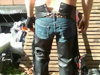 blue-washed denim bottoms and black leather chaps Georgetown, 78628