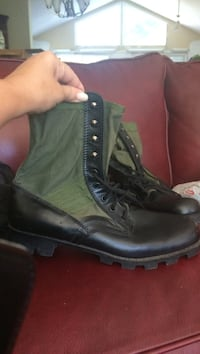 Pair black patent leather and green combat boots size 13 E Springfield, 22151