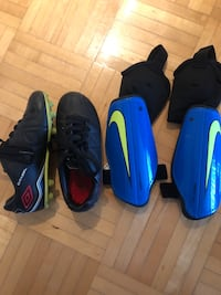 Soccer shoes and shin guards