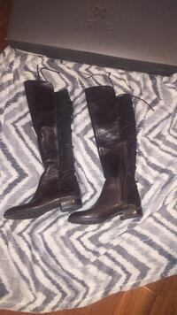 Pair brown leather Vince Camuto heeled knee-high boots