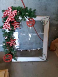 Antique christmas decor/rustic wood christmas mirror decor