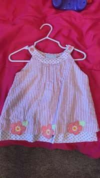 girl's white and red striped sleeveless blouse