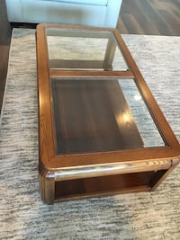 Oak & glass end tables & coffee table