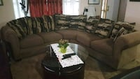 gray suede sectional sofa with throw pillows Calgary, T2Y 3T5