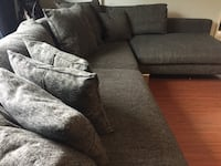 Gray fabric sectional sofa with throw pillows Burnaby, V3N 4C5