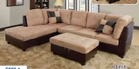 No credit needed beige microfiber sectional storage ottoman pillows College Park