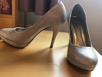 Silver high heels Size 10