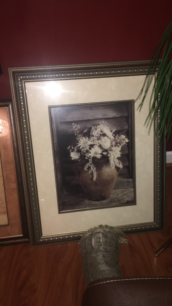 white flowers in vase painting