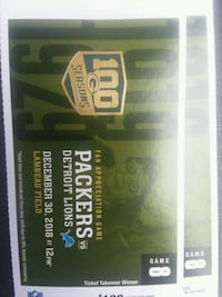 Packers Lions Tickets x2 ⚫Section 121 Green Bay, 54304
