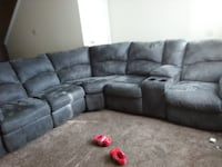 gray fabric sectional sofa with throw pillows Columbus