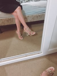 Gorgeous strappy studded clear block high heel