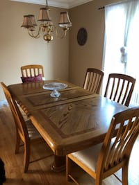 brown wooden dining table set null