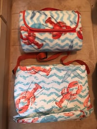 White, blue, and coral bag w/ lobsters Stafford, 22556