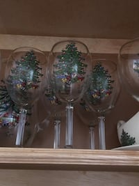 8 large wine/water spode christmas tree goblets