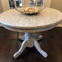 Round brown and white wooden pedestal table Great Falls, 22066