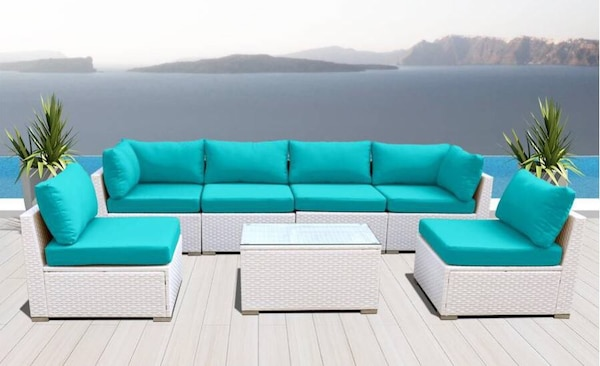 White Outdoor Patio Furniture.Outdoor Patio Furniture Rattan White Pe Wicker Sofa Chair Set Turquoise