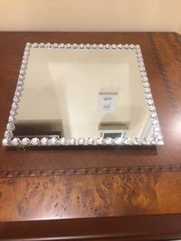 diamond embellished stainless steel framed wall mirror