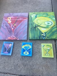 5 Oil paintings ( Martini Drinks ).