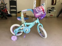 toddler's blue and white bicycle with training wheels 伯納比, V5J 0E2