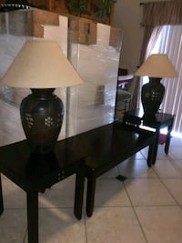 Expresso tables & 2 table lamps. Call  [PHONE NUMBER HIDDEN]  Hollywood, 33020