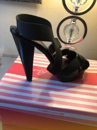 black leather open-toe heeled sandals