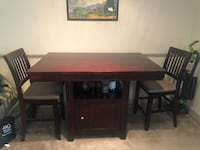 Solid wood high top dining table with 2 chairs