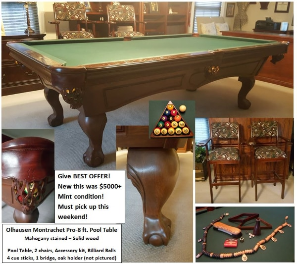 Used Olhausen Montrachet Pro Ft Pool Table Chairs And - Pool table pick up