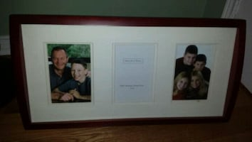 white 3-panel picture frame with brown frame
