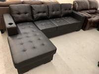 Brand new black faux leather sectional sofa with 2cup holder 多伦多, M1S 1T5
