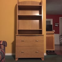 brown wooden shelf with drawer chest