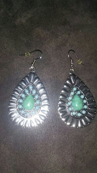pair of silver-colored-and-teal hook earrings