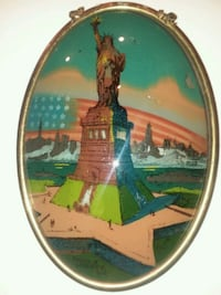 Vintage 1917 oval Bubble Glass Statue of Liberty f Watertown, 53094