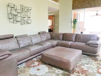 Tan Italian Leather Sectional Set w/ Chair and 2 Ottomans CHANTILLY