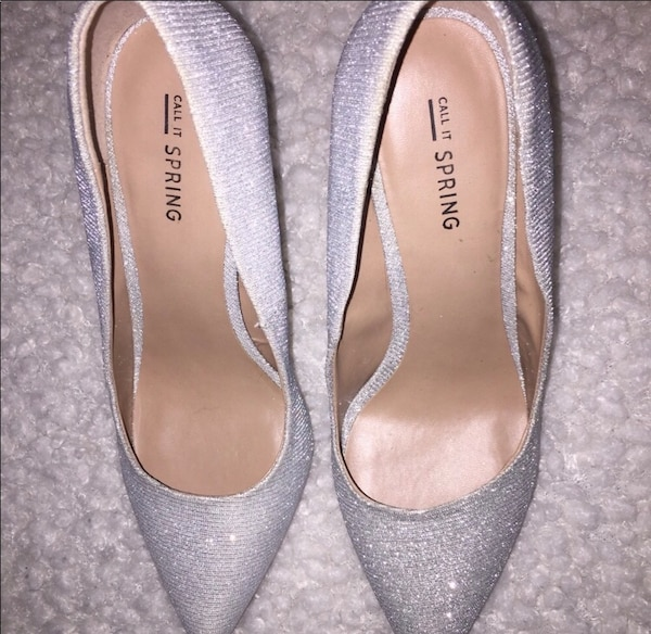 Call it spring silver heels size 8 0