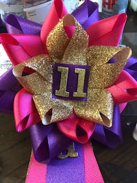 Gold, purple, and pink BIRTHDAY PINS