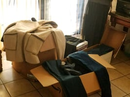 8 boxes off clothing