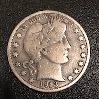 1913-P Barber Half Dollar. Scarce Date Redding, 96002