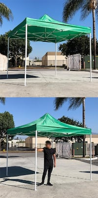 New $90 Green 10x10 Ft Outdoor Ez Pop Up Wedding Party Tent Patio Canopy Sunshade Shelter w/Bag South El Monte