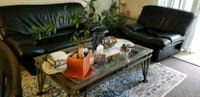 Couch, chair and glass top coffee table. Campbell