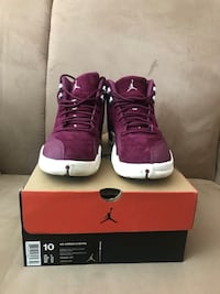 Pair of purple air jordan 12 shoes with box Hercules, 94547