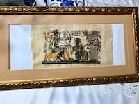 The Nile of Papyrus hand hand inked Egyptian print People with cougars and crane Lake Buena Vista, 32830
