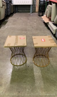 Set of glass top side tables. Chantilly, 20151