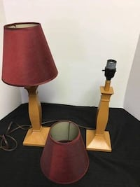Pottery Barn wood lamps with deep red shades Glen Burnie