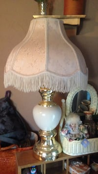 Set of off white floral table lamps