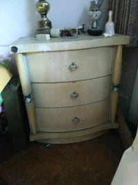 TWO Beige wooden 3-drawer nightstand.