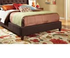 Queen Brown Fabric Bed Frame New