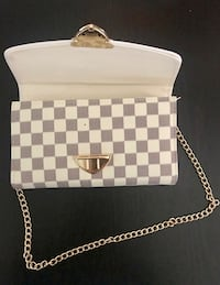 white and gray checkered leather crossbody bag Hallandale Beach, 33009