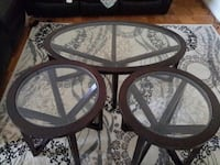 round brown wooden framed glass top table Gaithersburg, 20878