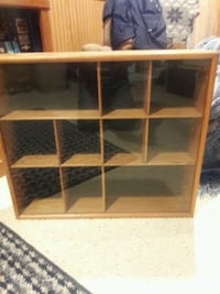 Wood wall shelf display / collectors case - with glass